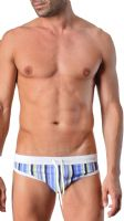 Geronimo Mens Swimwear Low Rise Striped Brief Trunks Blue White 1417s2